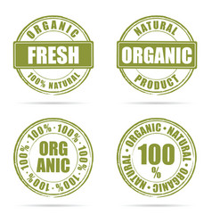 grunge rubber fresh and organic green vector image vector image