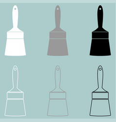 handle paint brush white black grey icon vector image vector image