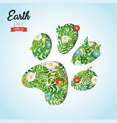 Happy earth day cutout card for wild animal help vector