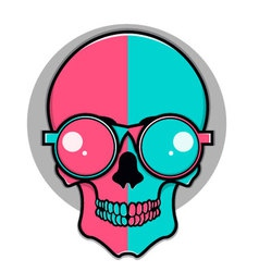 Isolated cartoon red and blue skull vector image vector image