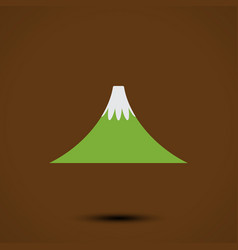 mountain icon on brown background vector image