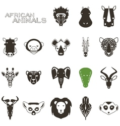 African Animal Black icons vector image vector image