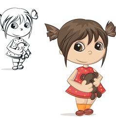 girl with teddy bear vector image vector image