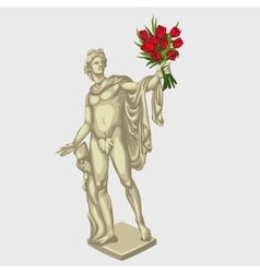Greek man sculpture with red bouquet of flowers vector image