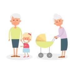 Happy grandmother with grandchildren Cute Senior vector image vector image