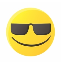 Smiling emoticon in sunglasses icon cartoon style vector image vector image