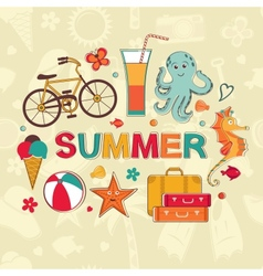 Summer cartoon set vector image