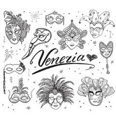 venice italy sketch carnival venetian masks hand vector image vector image