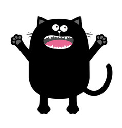 screaming meowing black cat silhouette holding vector image