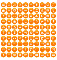 100 city icons set orange vector