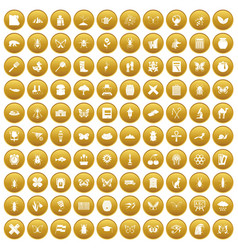 100 insects icons set gold vector