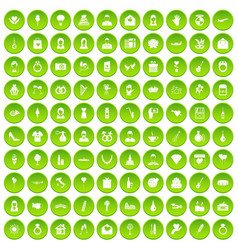 100 wedding icons set green vector