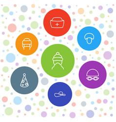 7 cap icons vector image
