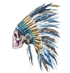 American native hat and skull vector