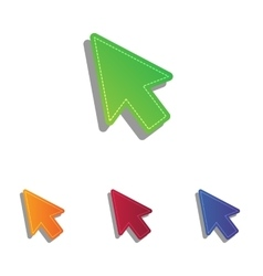 Arrow sign Colorfull applique icons vector image