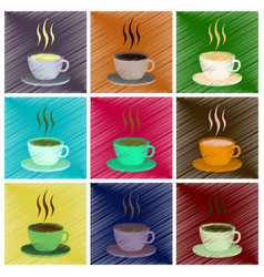 Assembly flat shading style icons cup of coffee vector