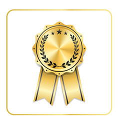 Award ribbon gold icon laurel wreath vector