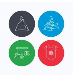 Baby clothes bath bubbles and hat icons vector image