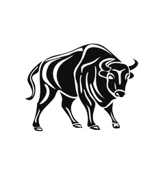 black silhouette of bull on white background vector image