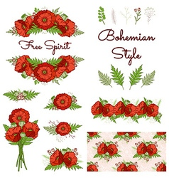 bohemian style collection with poppies vector image