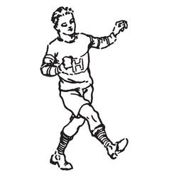 Boy kicking vintage vector