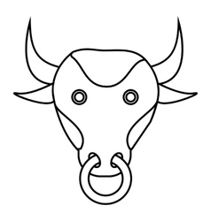 Bull icon outline style vector image