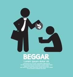 Businessman donates coin to the beggar illu vector