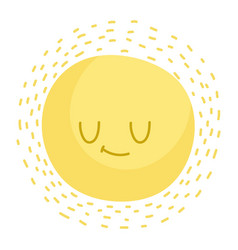 cartoon cute sun summer weather isolated style vector image