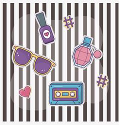 cassette sunglasses nail polish perfume decoration vector image