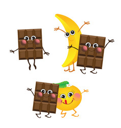 Chocolate banana orange characters vector