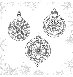 Christmas coloring tree decoration baubles line vector
