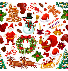 christmas decoration gifts seamless pattern vector image