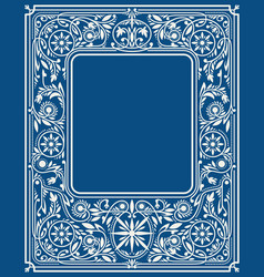 Classic blue floral border or frame vector
