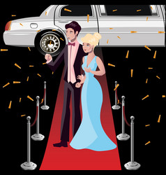 Couple celebrities on the red carpet vector