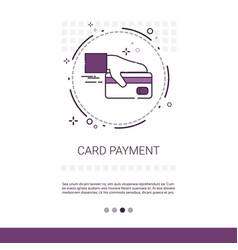 credit bank card payment hold hand web banner with vector image