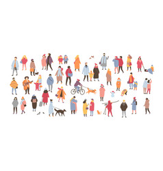 Crowd of people dressed in outerwear isolated on vector