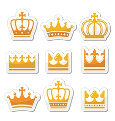 Crown royal family gold icons set vector
