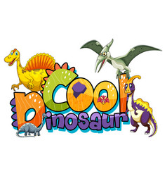 Cute dinosaurs cartoon character with cool vector