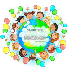 Cute kids different nationalities hold earth vector