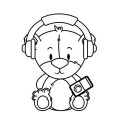 Cute little bear character vector