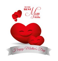 Cute red hearts hapy mothers day best mom card vector