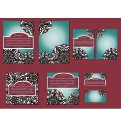 Dark red and green set of brochures flyers vector