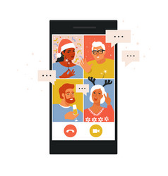diverse people dancing and chatting on online vector image
