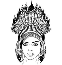 draw in black and white beautiful girl vector image
