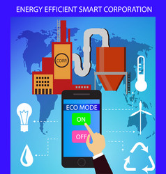 eco friendly factory on a digital touch screen vector image