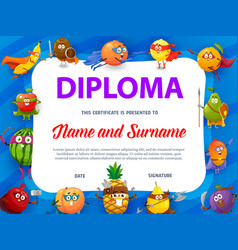 Education school diploma with fruits super heroes vector