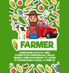 Farmer cattle farm and harvest agriculture vector