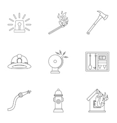 Fiery profession icons set outline style vector