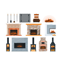 Fireplace firewood and accessory isolated on vector