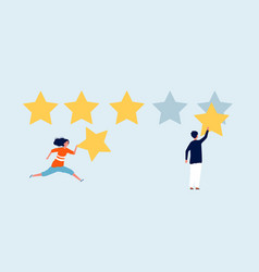 five stars rating woman man with star reviews vector image
